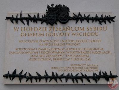 Tablica w hołdzie zesłańcom Sybiru - Kraków