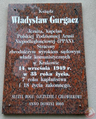 Tablica upamiętniająca ks. Władysława Gurgacza - Nowy Sącz