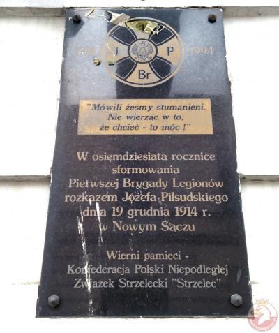 Tablica upamiętniająca utworzenie Pierwszej Brygady Legionów - Nowy Sącz