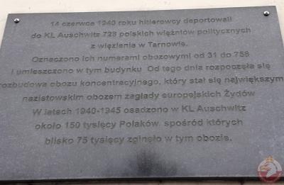 Tablica upamiętniająca transport polskich więźniów do KL Auschwitz - Oświęcim