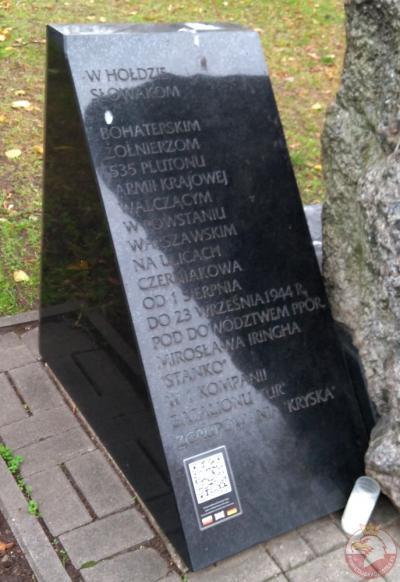 Pomnik poświęcony Słowakom walczącym w Armii Krajowej - Warszawa