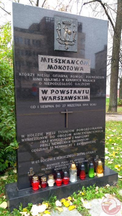 Tablica poświęcona mieszkańcom Mokotowa niosącym pomoc żołnierzom AK - Warszawa
