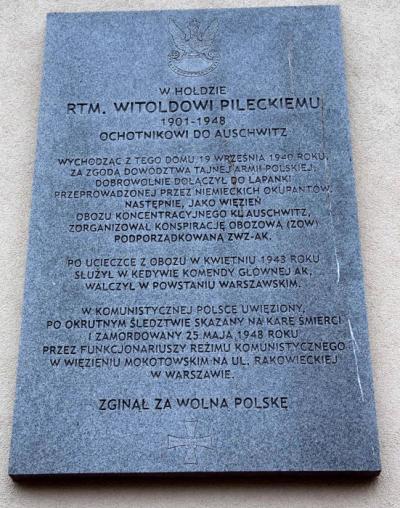 Tablica upamiętniająca aresztowanie Rotmistrza Witolda Pileckiego - Warszawa