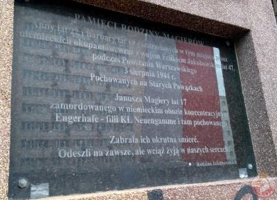 Tablica upamiętniająca rodzinę Magierów - Warszawa