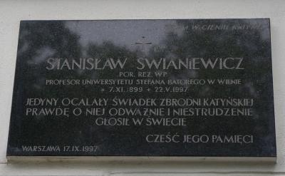 Tablica upamiętniająca Stanisława Swianiewicza - Warszawa