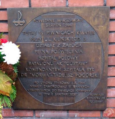 Tablica upamiętniająca szpital polowy przy ul. Kilińskiego - Warszawa