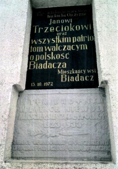 Tablica upamiętniająca siedzibę szkoły polskiej w latach 1923 -1933 - Biadacz