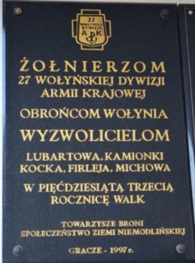Tablica upamiętniająca żołnierzy 27 Wołyńskiej Dywizji Armii Krajowej - Gracze