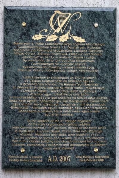 Tablica upamiętniająca żołnierzy walczących w 1813 r. o wolność Śląska i Łużyc - Namysłów