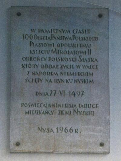 Tablica upamiętniająca księcia niemodlińskiego i opolskiego Mikołaja II - Nysa