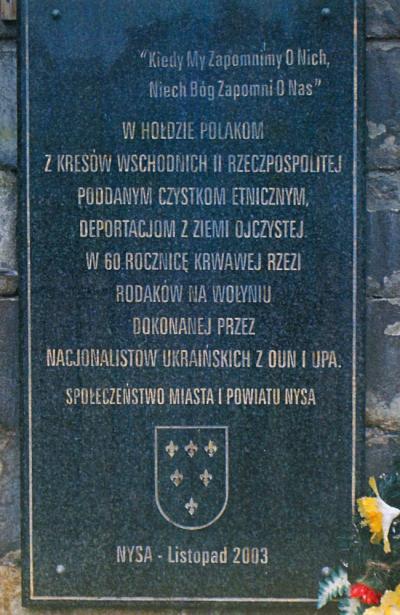 Tablica upamiętniająca ofiary rzezi na Wołyniu - Nysa