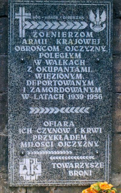 Tablica upamiętniająca żołnierzy Armii Krajowej - Nysa