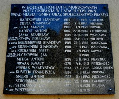 Tablica upamiętniająca mieszkańców ofiary II wojny światowej - Praszka