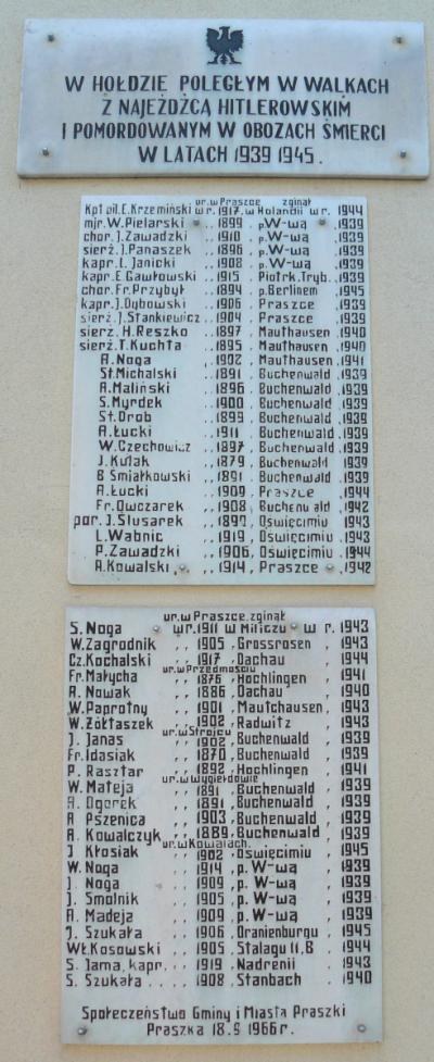 Tablica upamiętniająca poległych podczas II wojny światowej - Praszka