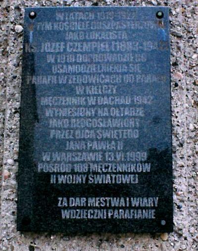 Tablica upamiętniająca ks. Józefa Czempiela - Żędowice