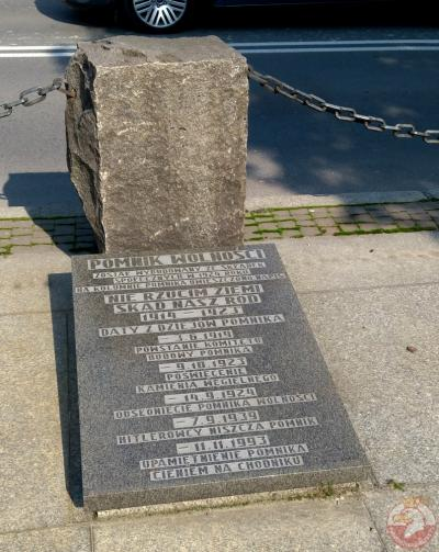 Tablica upamiętniająca położenie Pomnika Wolności - Czechowice-Dziedzice