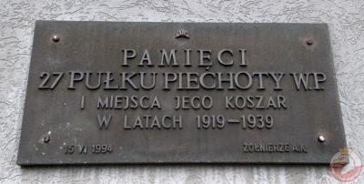 Tablica upamiętniająca 27 Pułk Piechoty WP - Częstochowa