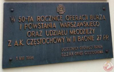 Tablica upamiętniająca 50-tą rocznicę Operacji Burza i Powstania Warszawskiego - Częstochowa