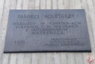 Tablica upamiętniająca poległych kolejarzy - Katowice