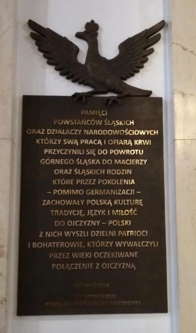 Tablica upamiętniająca Powstańców Śląskich oraz działaczy narodowościowych - Katowice