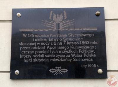 Tablica upamiętniająca 135 rocznicę wybuchu Powstania - Sosnowiec